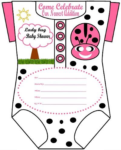 pink little ladybug onesie invitations design 49