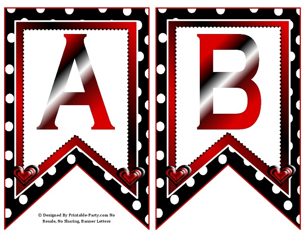 Small Swallowtail Printable Banner Letters A-Z   Numbers 0 ...