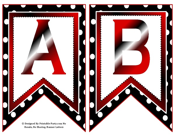 small swallowtail printable banner letters az numbers 0