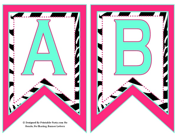 Small Swallowtail Printable Banner Letters A-Z | Numbers 0-9 | TH ...