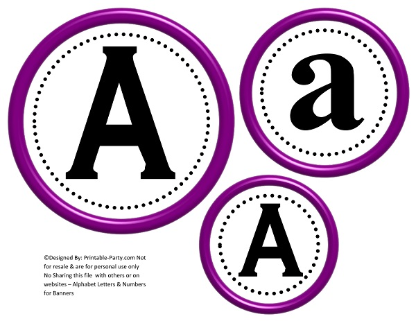3D Circle Printable Banner Letters A-Z 0-9 | Create A Personalized ...