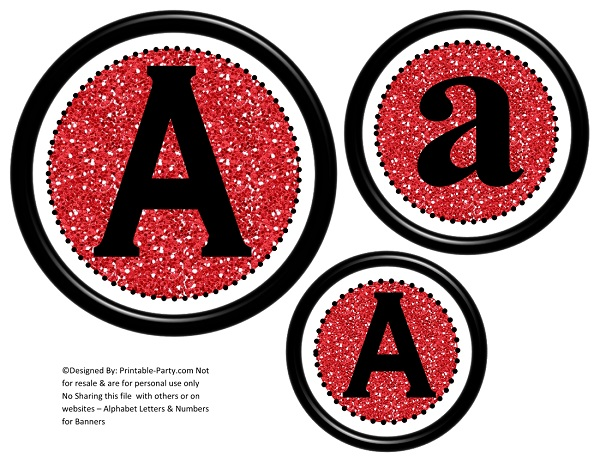 3D Circle Printable Banner Letters A-Z 0-9 | Create A ...