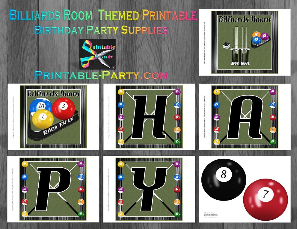 Billiards room party supplies