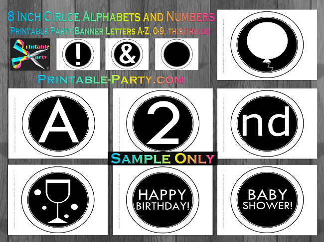 8x8 inch printable circle alphabet letters a z numbers these circle shaped printable alphabet templates are awesome for creating banners spelling names