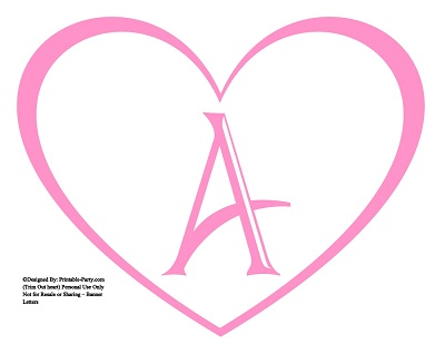 Large Printable Heart Shaped Alphabet Letters A-Z | Heart ...