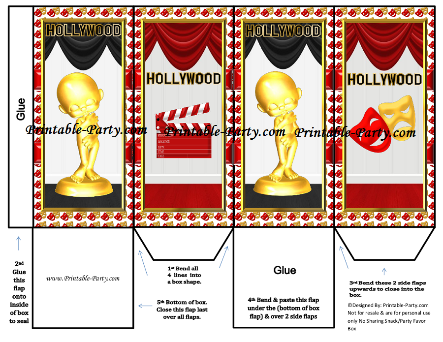 Printable Hollywood Movie Party Supplies Movie Theme