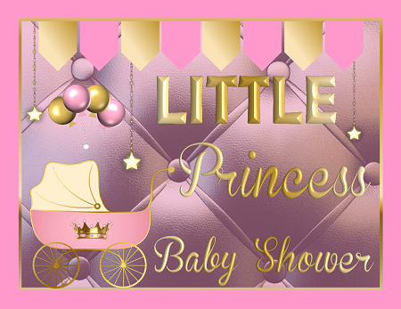 Printable Royal Princess Baby Shower Supplies Pink Gold African