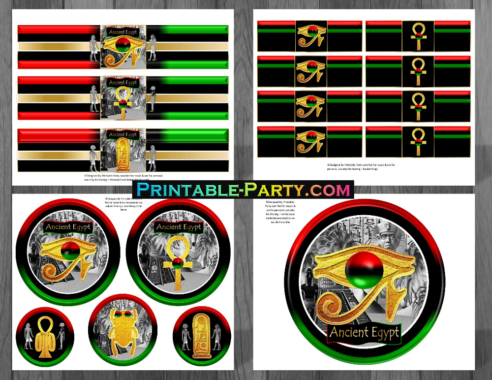 Printable Ancient Egyptian Party Supplies Egypt Themed Birthday