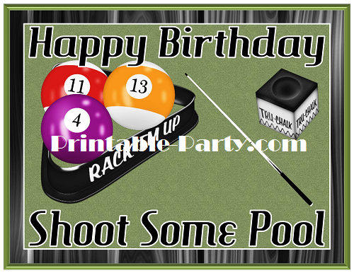 Printable Billiards Room Party Supplies Pool Table Theme Birthday Simple Pool Ball Decorations