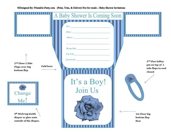 Boy Diaper Baby Shower Invitations Printable Diaper Shaped Invites