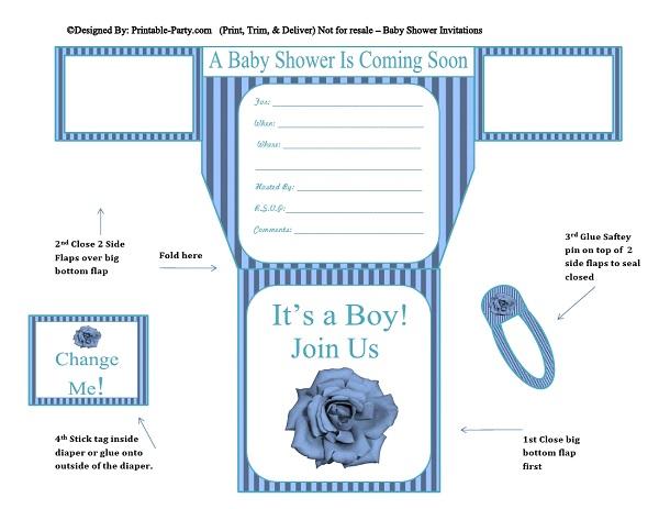 blue stripes blue flower diaper invites