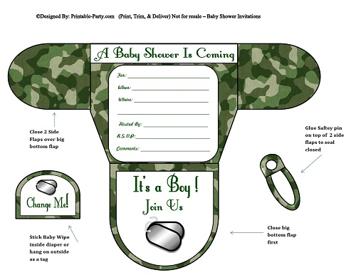 Boy Diaper Baby Shower Invitations | Printable Diaper .