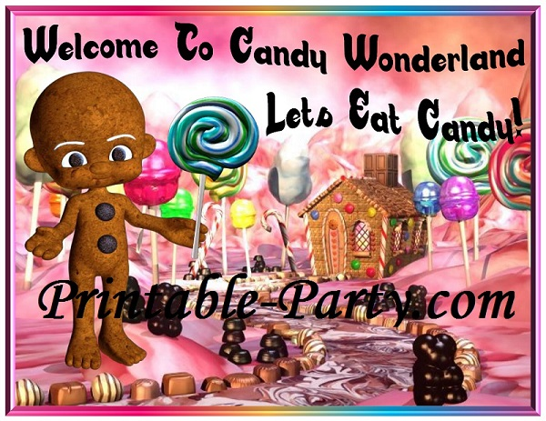 Printable Candyland Party Supplies Yummy Candy Wonderland Themed Decorations