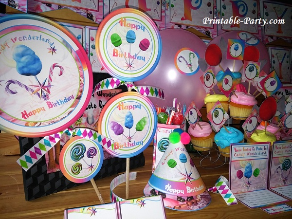 Candy Wonderland Themed Printable Party Supplies