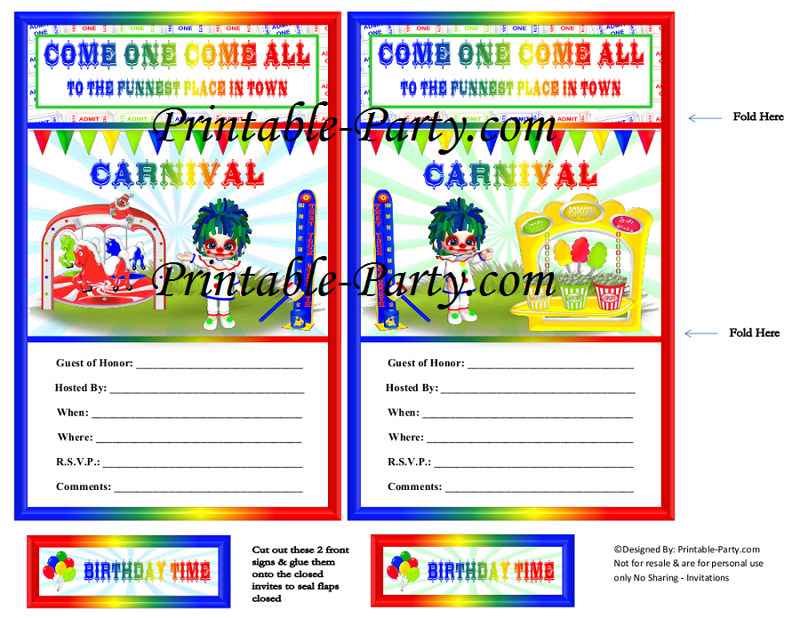 Carnival Theme Party Decorations – Carnival Themed Party Invitations