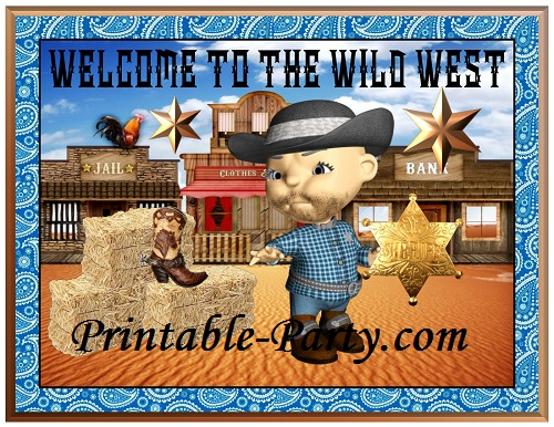 Cowboy western theme party decorations with little sheriff. This theme features fab designs of a cute western town with a beautiful blue sky.  sc 1 st  Printable Party Supplies u0026 Decorations & Cowboy Western Theme Party Decorations