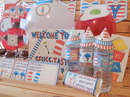 Seuss Inspired Printable Birthday Party Supplies