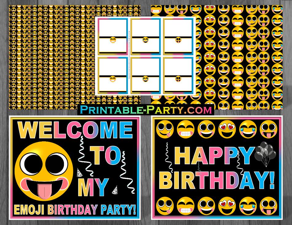 Printable Emoji Birthday Party Decorations   Emoji Party ...