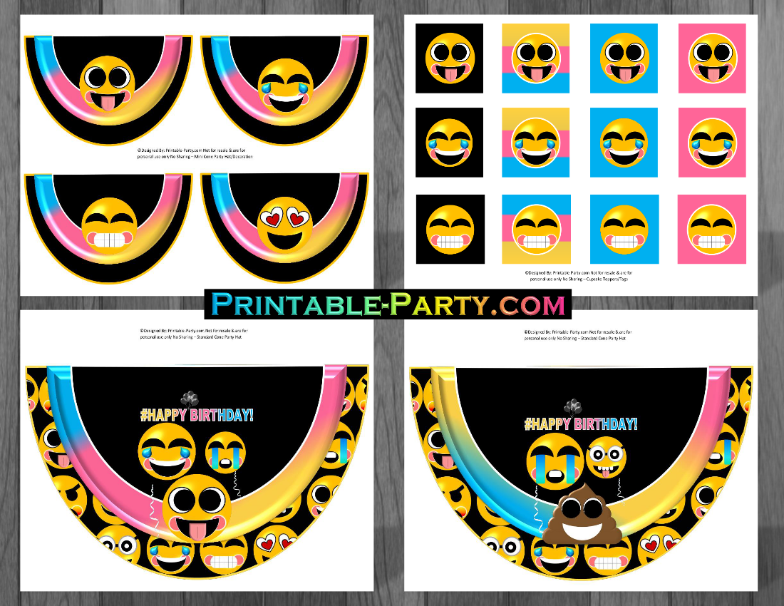 Free Birthday Emojis ~ Printable emoji birthday party decorations emoji party supplies