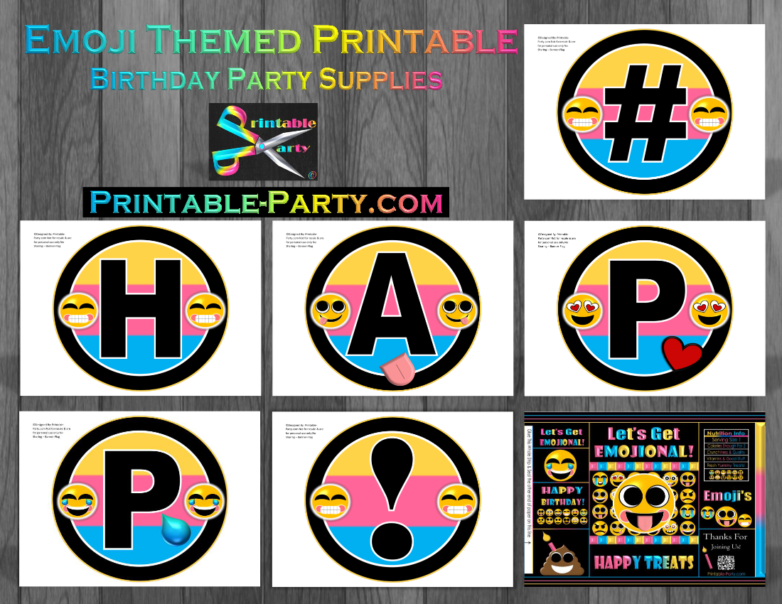 Printable emoji birthday party decorations emoji party for Decoration emoji