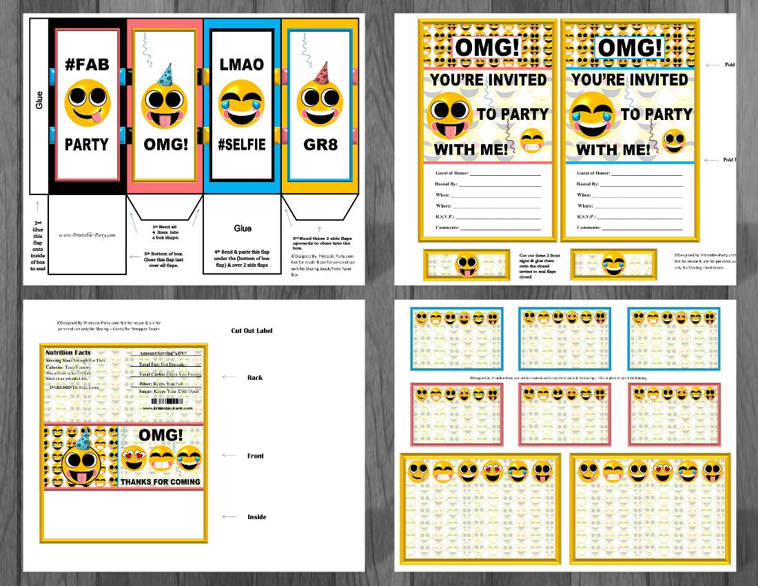 Emoji Printable Birthday Supplies Emoticon Smiley