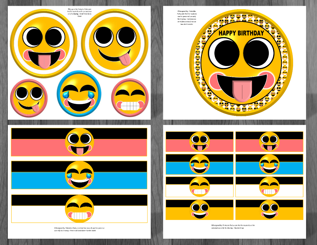 Emoji Themed Printable Birthday Supplies