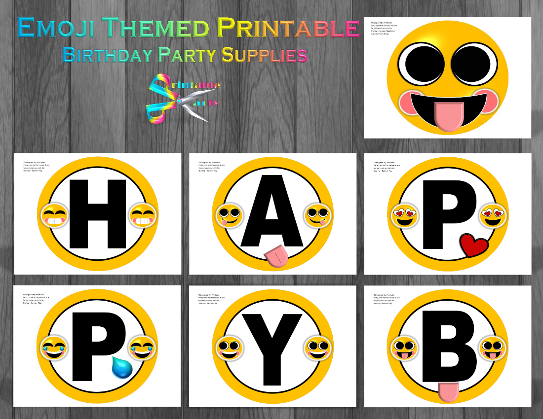 Emoji Printable Birthday Supplies | Emoticon, Smiley, Happy Face Decorations