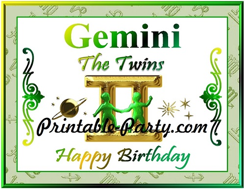 Gemini Printable Zodiac Party Supplies | Astrology Sign