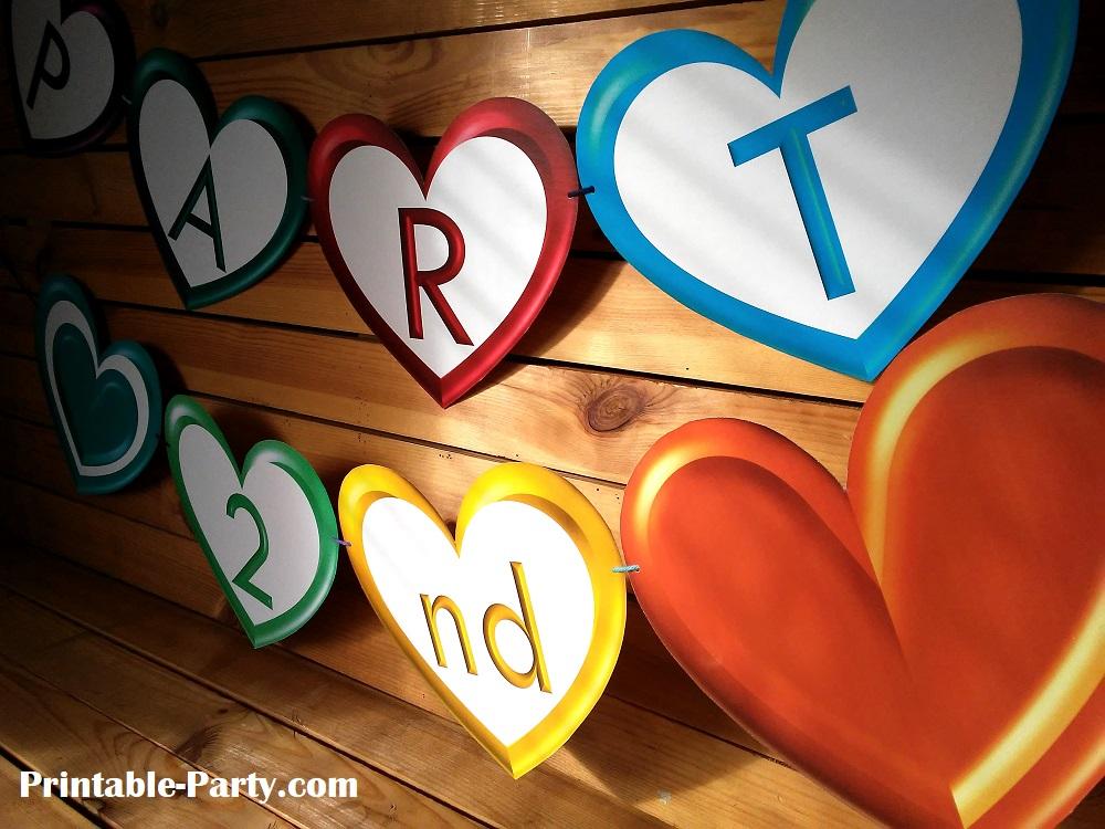Heart Printable Alphabet Letters | Heart Shaped Banner Letter Printables