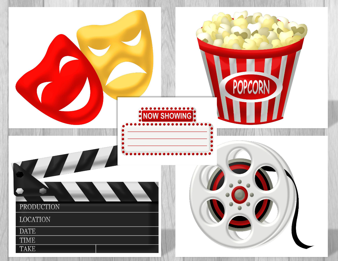 Printable Hollywood Movie Party Supplies | Movie Theme ...
