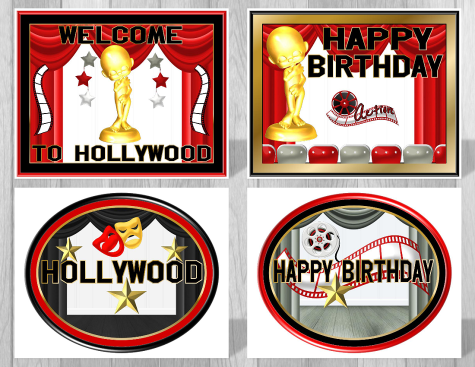 Printable Hollywood Movie Party Supplies Theme