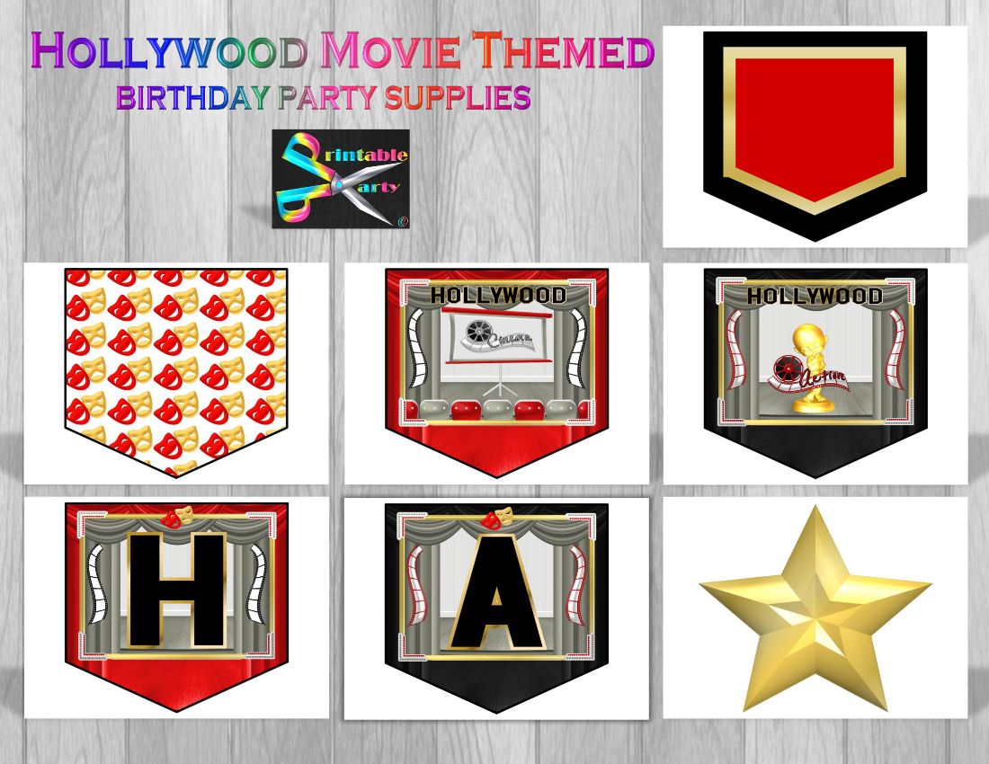 Hollywood Movie Party Supplies on oscar list printable