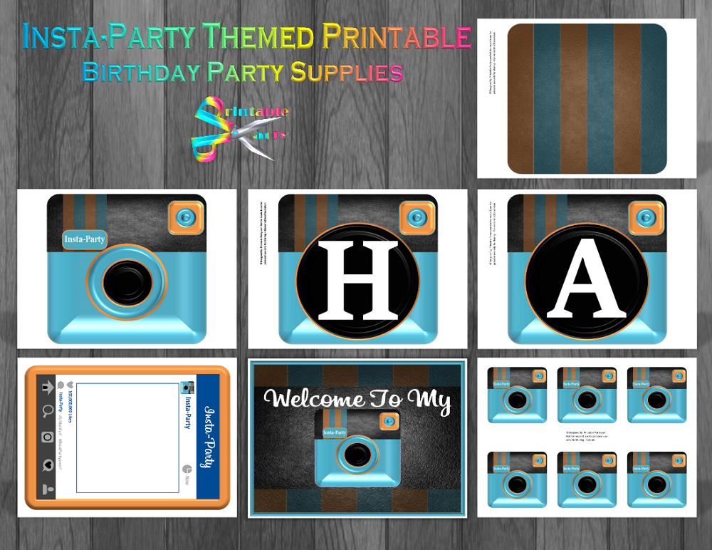 picture about Printable Camera named Insta-Bash Digital camera Themed Printable Bash Components Blue