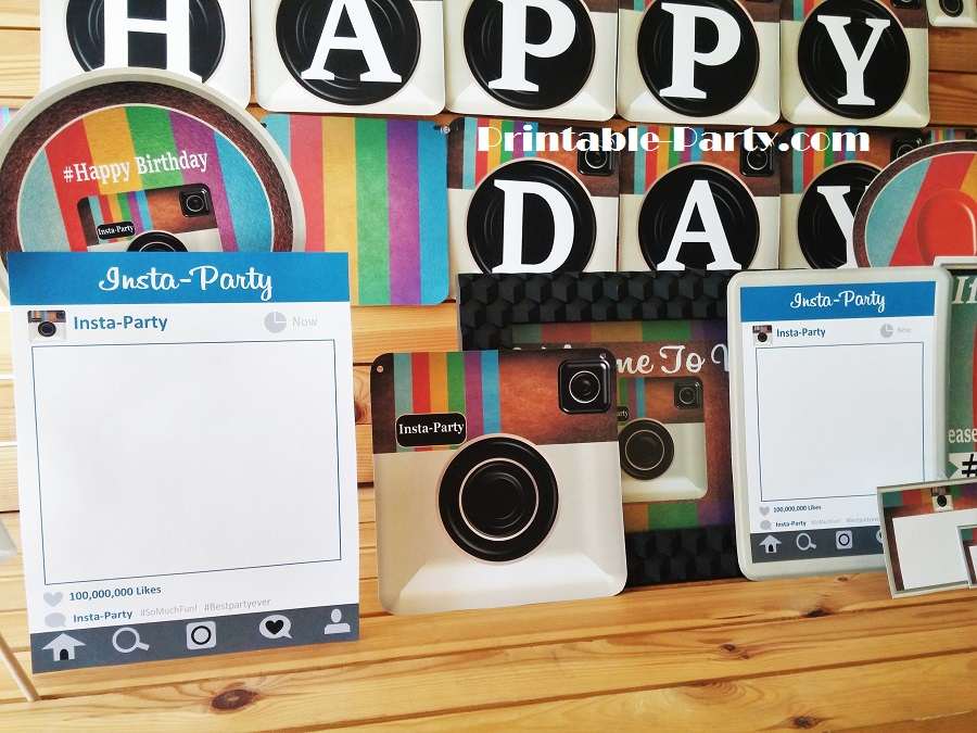 Insta Party Camera Themed Printable Party Supplies Blue