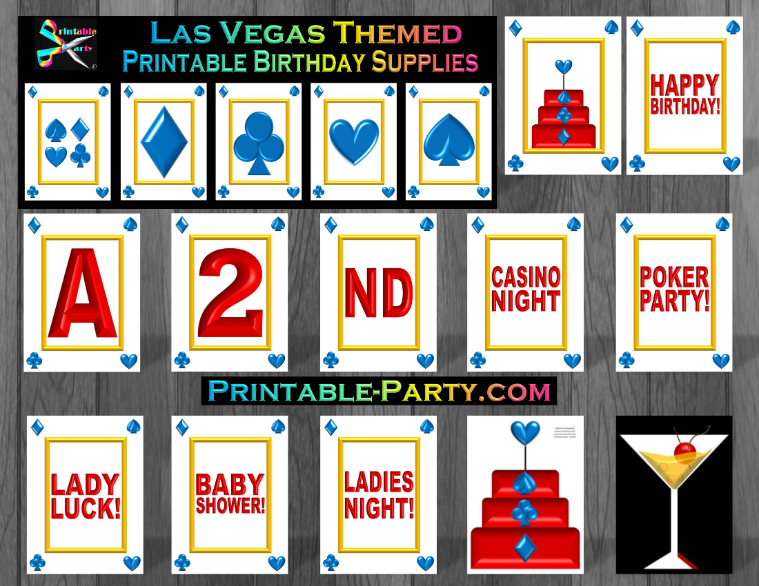 picture about Printable Birthday Decorations referred to as Las Vegas Birthday Decorations On line casino Concept Social gathering Printables