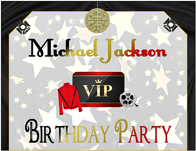 Michael Jackson Party Supply Printables That Are Themed Using A Hollywood VIP Glitzy Glamorous Design