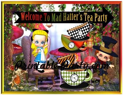 Printable Mad Hatters Tea Party Supplies Wonderland Tea Party