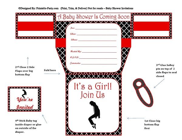 Girls Diaper Baby Shower Invitations | Diaper Printable ...