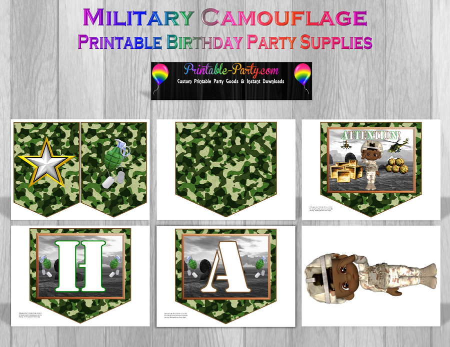 Printable camouflage party supplies military birthday for Army theme party decoration ideas