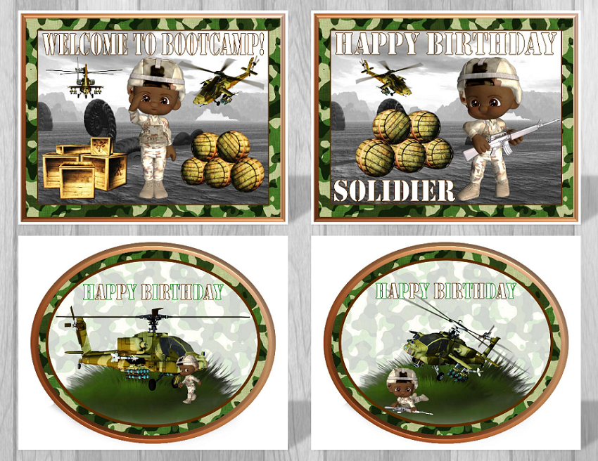 Printable camouflage party supplies military birthday for Army party decoration ideas