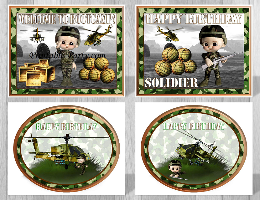 Printable military party supplies camouflage party supplies for Army party decoration