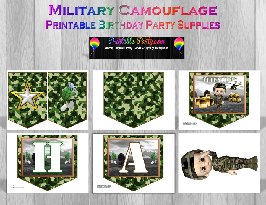 Printable military party supplies camouflage party supplies for Army party decoration ideas