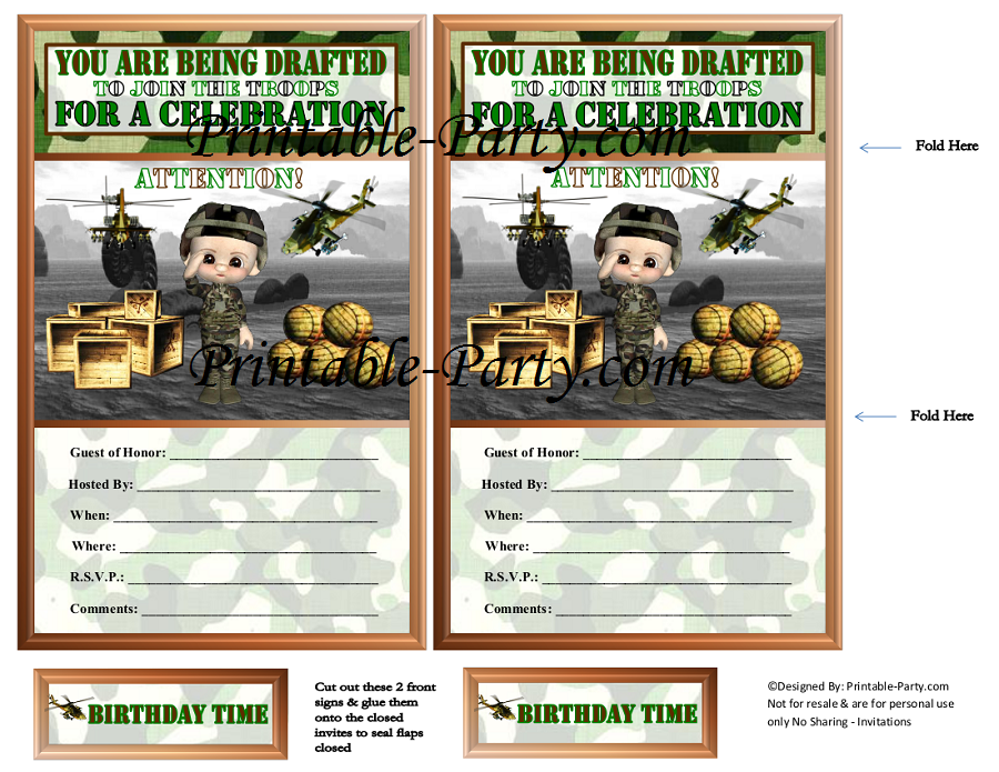 Printable Military Party Supplies | Camouflage Party Supplies