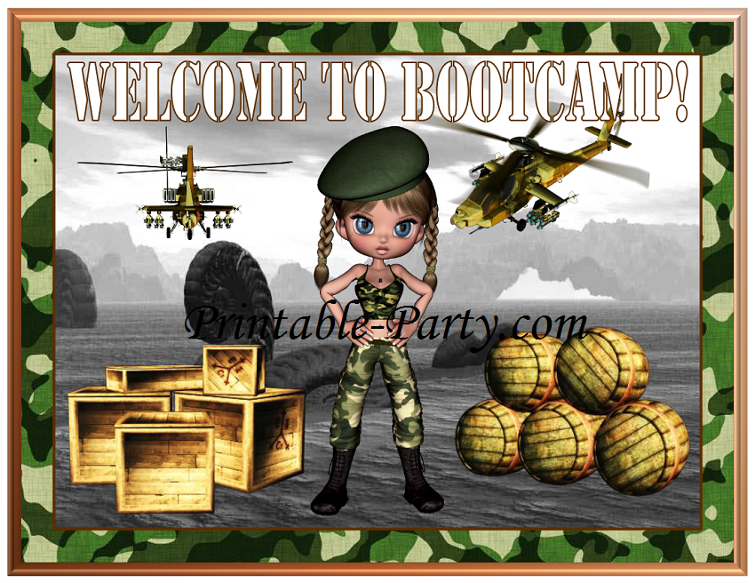 Printable girl military party supplies camouflage party for Army party decoration ideas