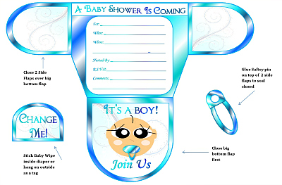 picture regarding Printable Baby Boy Shower Invitations known as Boy Diaper Little one Shower Invites Printable Diaper Fashioned