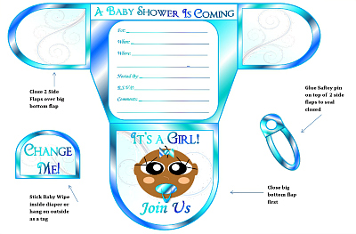Girls Diaper Baby Shower Invitations Diaper Printable Baby Shower - Diaper baby shower invitation template