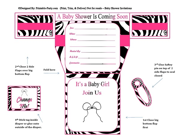 girls diaper baby shower invitations  diaper printable baby, Baby shower invitations
