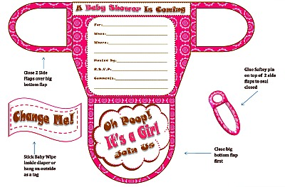 girls diaper baby shower invitations diaper printable baby shower