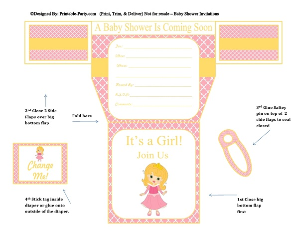 diaper template for baby shower favors - girls diaper baby shower invitations diaper printable