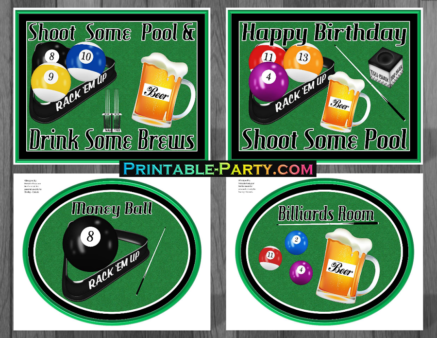 Printable Billiards Party Supplies Billiards Birthday Theme Magnificent Pool Ball Decorations